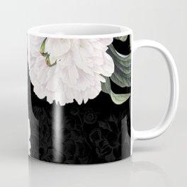 White Peony Black Chic Coffee Mug