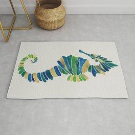 Seahorse – Watercolor & Gold Rug