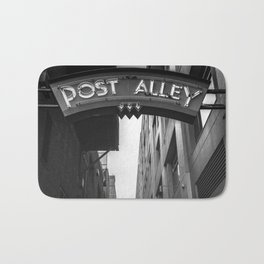 Post Alley in Seattle Washington - Black and White Bath Mat