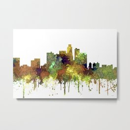 Los Angeles Skyline - Safari Buff Metal Print