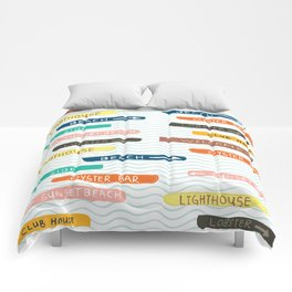 Happy by the sea-signboard Comforters