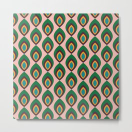 Peacock feather pink #homedecor #midcenturydecor Metal Print