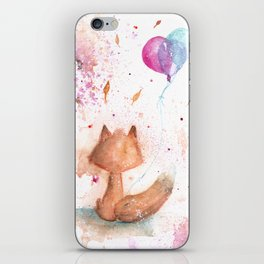 Little Fox and Balloons Watercolor iPhone Skin