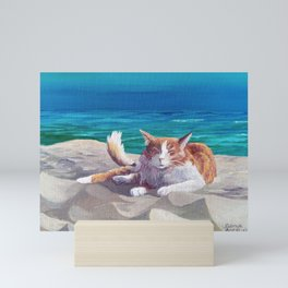 Ocracoke Cat at Beach #3 by Sonya Allen Mini Art Print