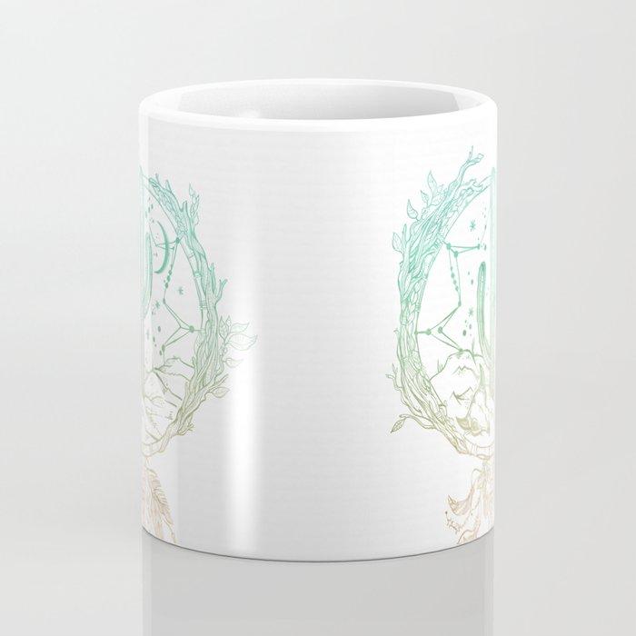 Desert Cactus Dreamcatcher Turquoise Coral Gradient on White Coffee Mug