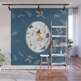 Blue Magical Fox Wall Mural
