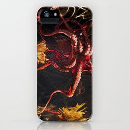Blooming Crimson Octopus iPhone Case