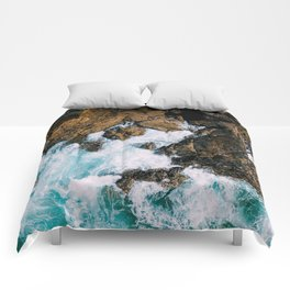 Ocean Waves Crushing On Rocky Landscape, Drone Photography, Aerial Landscape Photo, Ocean Wall Art Comforters