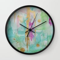 macaroon Wall Clocks featuring Mint Macaroon by Limezinnias Design