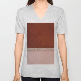 Minimal and abstract aerial view of a red and pastel Salt Lake in Italy – Landscape Photography Unisex V-Neck