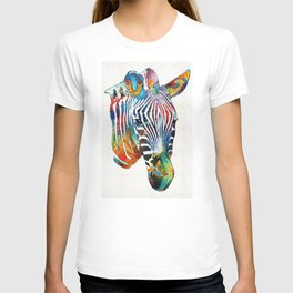 Colorful Zebra Face by Sharon Cummings T-shirt