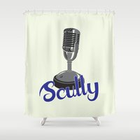 scully Shower Curtains featuring Vin Scully Mic by Eric J. Lugo