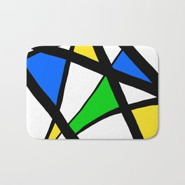 China Blue, Apple Green and Sunshine Yellow Abstract Bath Mat