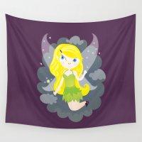 fairy Wall Tapestries featuring Fairy by Maria Jose Da Luz