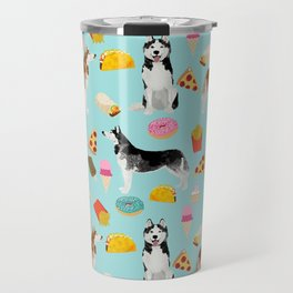 Husky siberian huskies junk food cute dog art sweet treat dogs pet portrait pattern Travel Mug