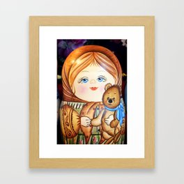 Matrioska. Little girl with teddy bear. Framed Art Print