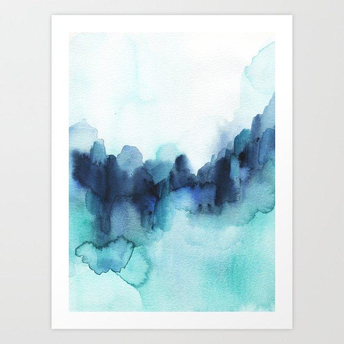 Wonderful blues Abstract watercolor Kunstdrucke