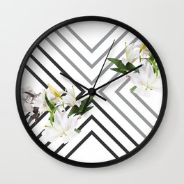White Flowers & Squares Wall Clock