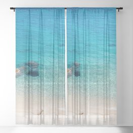 AERIAL PHOTOGRAPHY OF BODY OF WATER Sheer Curtain