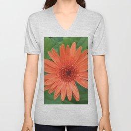 Orange Gerber Daisy Unisex V-Neck