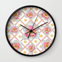 Pink-Yellow Spring Garden Daffodils Wall Clock