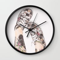 shoes Wall Clocks featuring Shoes by Carlos ARL