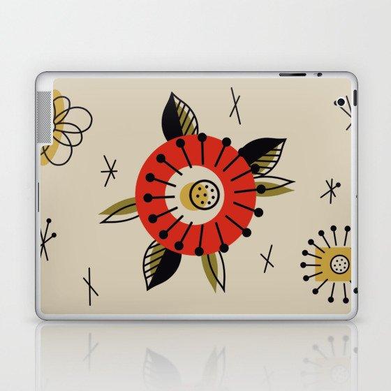Red Mid Century Modern Flower  Laptop & iPad Skin