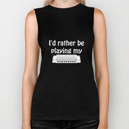 I'd Rather Be Playing My Harmonica Music Graphic T-shirt Biker Tank