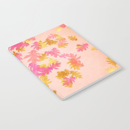 Autumn-world 1 - gold glitter leaves on pink background Notebook