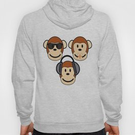 Illustration of Cartoon Three Monkeys - See, Hear, Speak No Evil Hoody