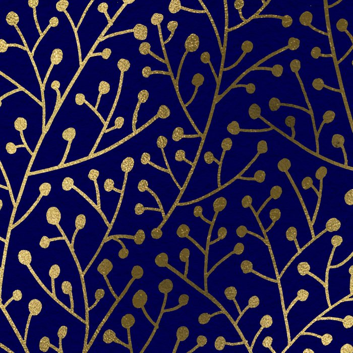 Gold Berry Branches on Navy Leggings