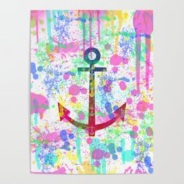 Modern abstract colorful watercolor nautical anchor splatters Poster