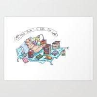 Reading Sloth Art Print
