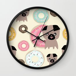 Pug and donuts beige Wall Clock