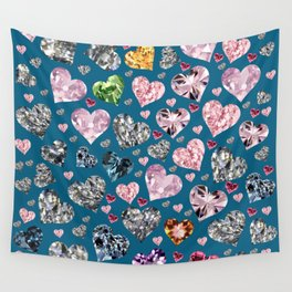 Heart Diamonds are Forever Love Blue Wall Tapestry
