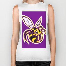 bee mascot yellow purple Biker Tank