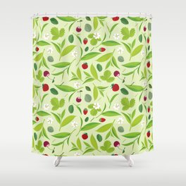 Green tea leaves pattern, lemon, cherry, flat illustration Shower Curtain