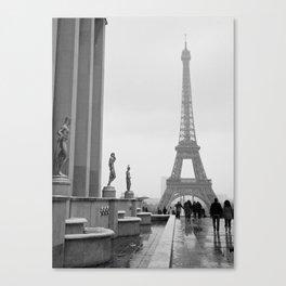 Eiffel Tower on a Snowy Day Canvas Print