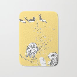 Two Tailed Duck and Jellyfish Pale Yellow Mellow Bath Mat
