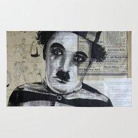 chaplin Area & Throw Rugs featuring Charles Chaplin  by Krzyzanowski Art