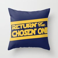 lebron Throw Pillows featuring Return of the Chosen One by JohnLucke