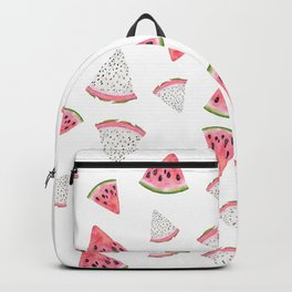 Fruity hand painted watercolor pink red black watermelon Backpack