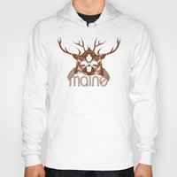 maine Hoodies featuring Backwoods Maine by One Giant Eye