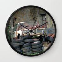 bmw Wall Clocks featuring Old BMW Wreck by Premium