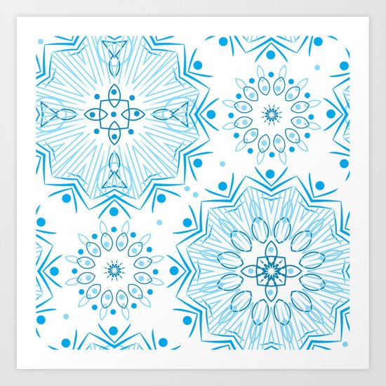 Winter . White and blue Art Print