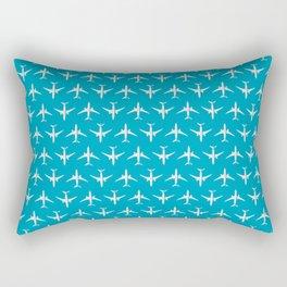 787 Passenger Jet Airliner Aircraft - Cyan Rectangular Pillow