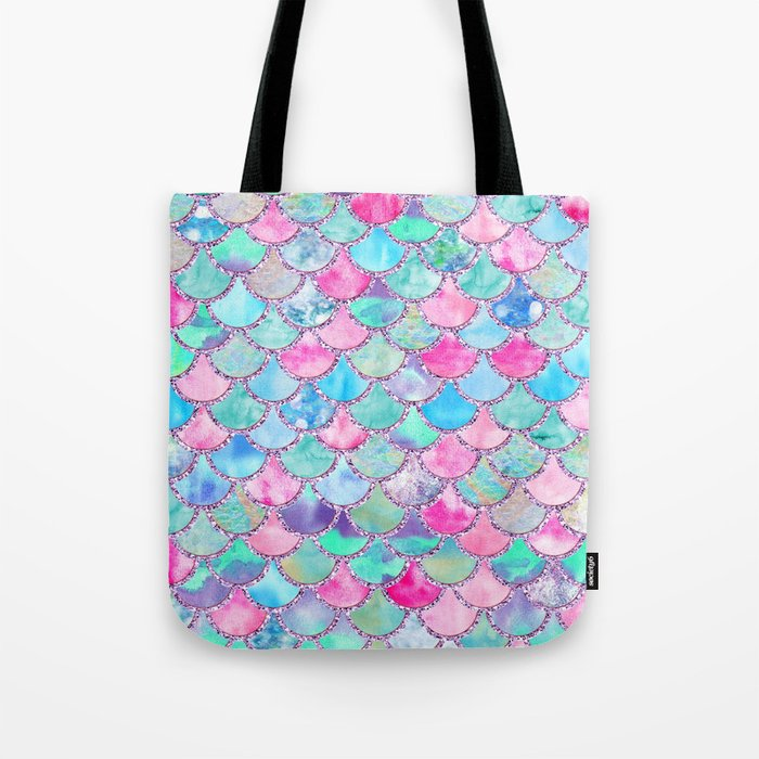 Colorful Pink and Blue Watercolor Trendy Glitter Mermaid Scales Tote Bag