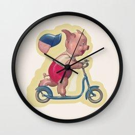 Cerdito en patinete Wall Clock
