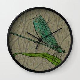 Dragonfly Beige Wall Clock