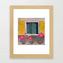 Plastic flowers by the decaying painted wall Framed Art Print